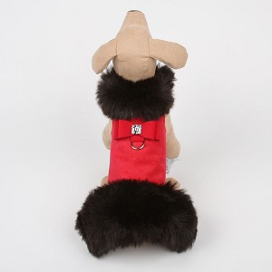Big Bow Foxy Fur Dog Coat- Red