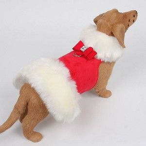 Big Bow White Fur Dog Coat- Red