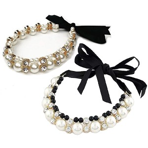 Coco Pearls & Ribbon Necklace