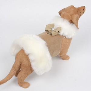 Nouveau Bow White Fox Fur Dog Coat- Camel