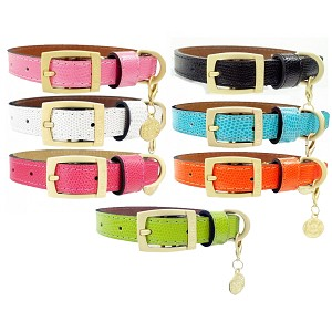 Park Avenue Lizard Embossed Leather Collar- 7 Colors