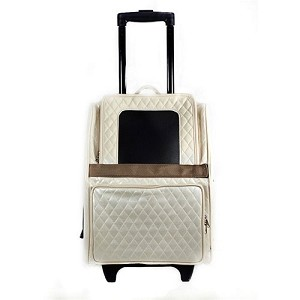 Rio Rolling Multifunctional Dog Traveler by Petote- Ivory Quilted Luxe