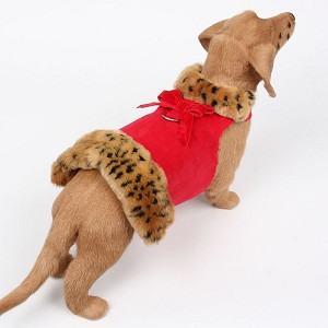 Red Luxe Suede Dog Coat with Faux Cheetah Fur