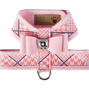 Big Bow Two-Tone Tinkie Harness- Houndstooth Peaches n Cream & Puppy Pink