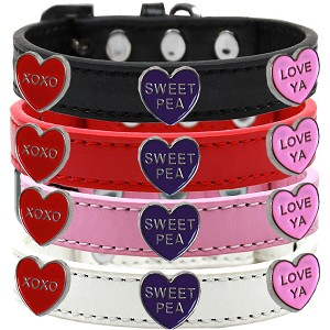 Sweet Pea Faux Leather Dog Collar