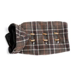 Toggle Wool Hooded Dog Coat- Brown Plaid