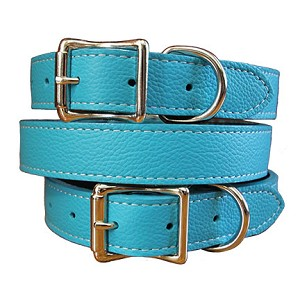 Tuscany Italian Leather Dog Collar - Turquoise