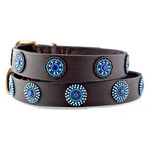 Handmade African Beaded Brown Leather Dog Collar - Blue Circles