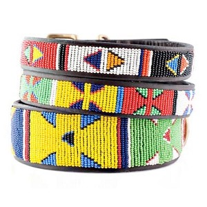 Handmade African Beaded Leather Collar - Primary Colors