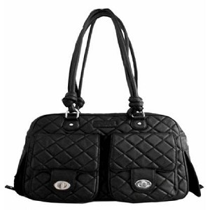 Alexandria Quilted Dog Carrier- Black