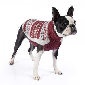 Fall Medley Burgundy Alpaca Dog Sweater