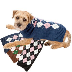 Argyle Collegiate Dog Sweater - Navy, Black, Brown