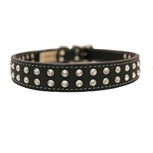 Madison Swarovski Crystal Leather Dog Collar - Black