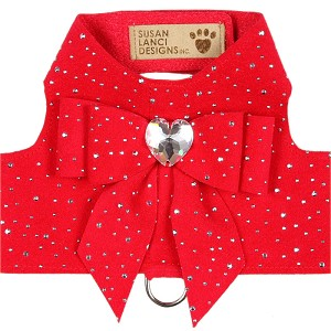 Bailey Tail Bow Heart Dog Harness- Stardust Red