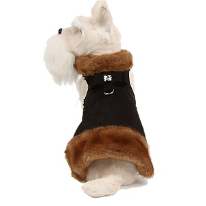 Big Bow Crystal Mink Fur Dog Coat- Black
