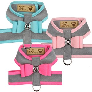 Big Bow Crystal Two-Tone Dog Harness- Platinum Series