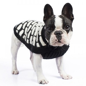 Black and White Luxury Suri Alpaca Dog Sweater