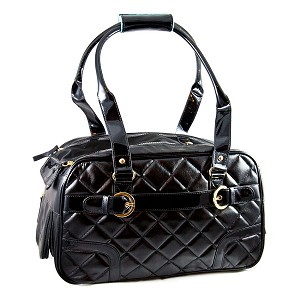 Coco Quilted Dog Carrier- Black