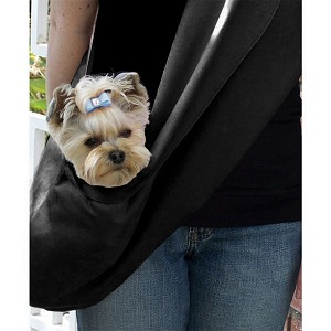 Black Luxe Suede Dog Carrier Sling