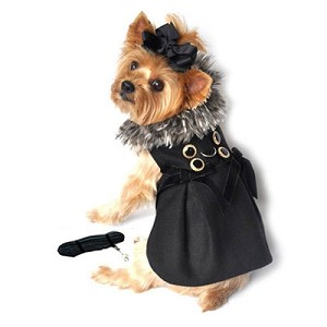 Black Wool and Silver Fox Dog Dress Coat