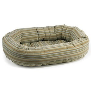Microvelvet Donut Dog Bed - Seaside Stripe