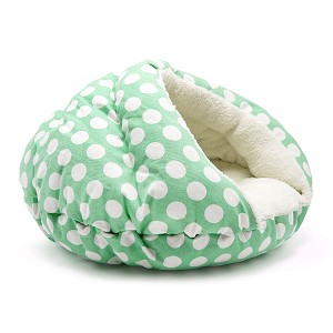 Burger Bed- Green Polka Dot