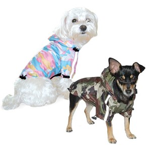Camo Dog Raincoat - Green and Pink