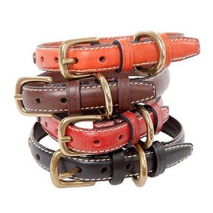 Classic Stitch Leather Dog Collars - Tangerine, Red, Black, Brown