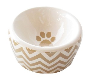 Chevron Khaki Stripe Dog Bowl