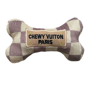 Chewy Vuiton Checker Bone Toy