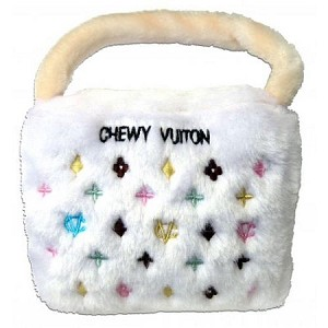 Chewy Vuiton White Purse Dog Toy