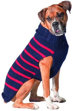 Classic Navy & Red Stripe Alpaca Sweater