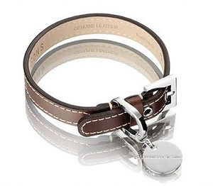Royal Leather Dog Collar - Chocolate