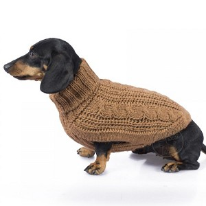 Chunky Cable Alpaca Dog Sweater- Camel