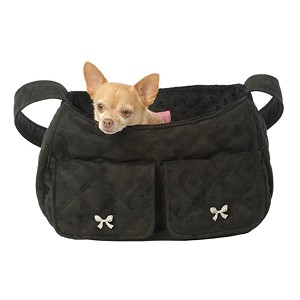 Coco Bow Quilted Snuggle Sack - Black