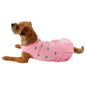 Crocodile Embroidered Preppy Dog Tennis Dress - Pink