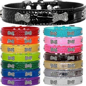 Crystal Bones Faux Croc Dog Collar -13 Colors