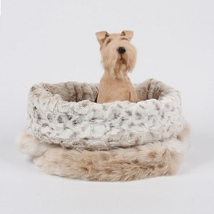 Cuddle Cup Dog Bed- Snow Leopard