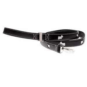Terrier Leather Dog Leash - Black and White