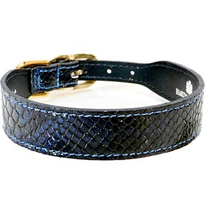 Snakeskin Italian Patent Designer Leather Dog Collar - French Navy