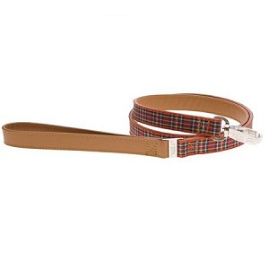 Highland Leather Dog Leash - Red Tartan