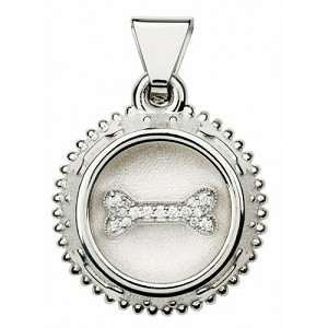 Diamond Sterling Silver Dog Tag