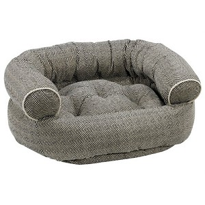 Microvelvet Double Donut Dog Bed Sofa - Herringbone