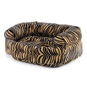 Microvelvet Double Donut Dog Bed Sofa - Safari