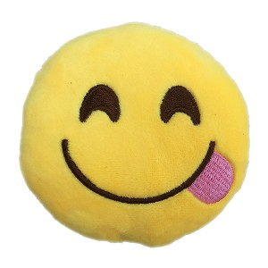 Squinty Tongue Emoji Dog Toy