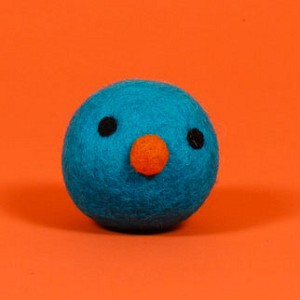 Fair-Trade Wool Dog Toy- Funny Face