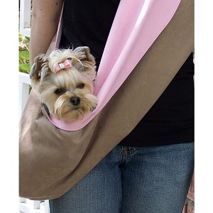 Fawn and Pink Luxe Suede Dog Carrier Sling