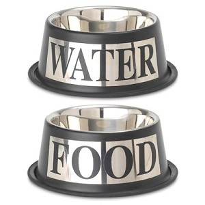 Dog Food and Water Bowl Set- Silver