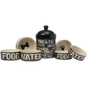 Graphite Food & Water Bowl Set