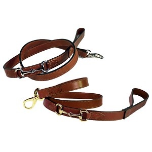 Gucci Poochie Italian Leather Dog Leash - Rich Brown